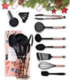 Black and Copper Cooking Utensils with Stainless Steel Copper Utensil Holder - 16-Piece Set Includes Black and Copper…