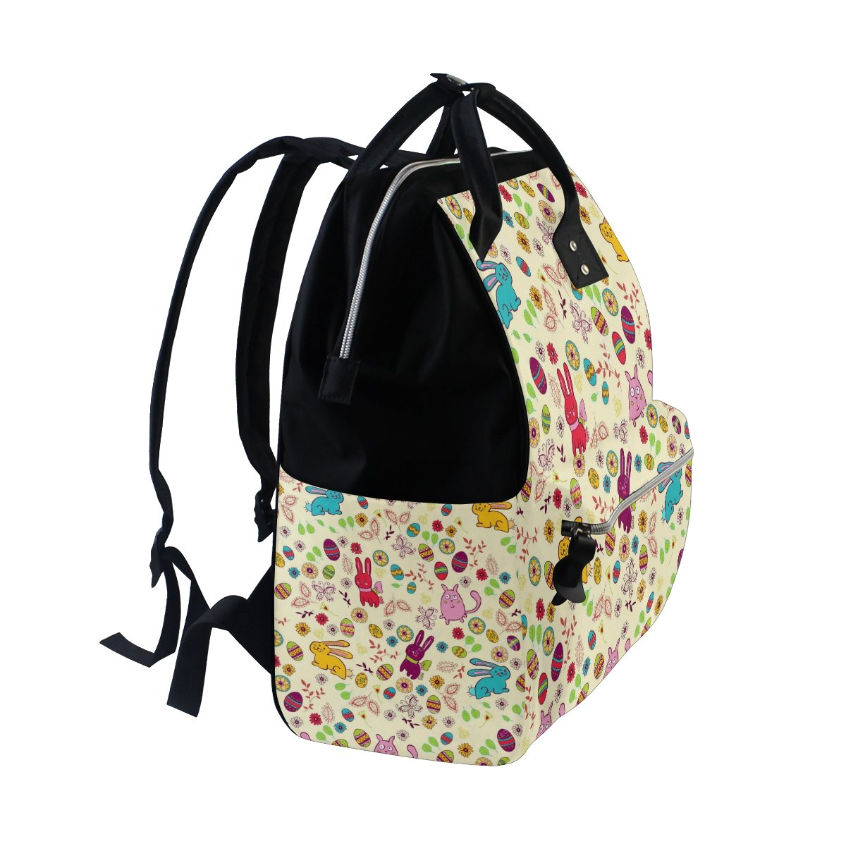Diaper Bags Backpack Purse Mummy Backpack Fashion Mummy Maternity Nappy Bag Cool Cute Travel Backpack Laptop Backpack with Colorful Rabbits and Eggs Daypack for Women Girls Kids