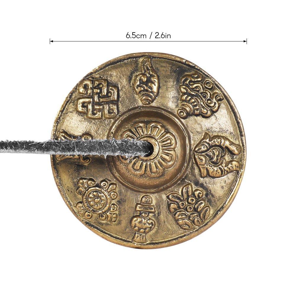 ammoon 2.6in 6.5cm Handcrafted M/éditation tib/étaine Tingsha Cymbal Bell avec bouddhiste Les huit symboles /époustouflants