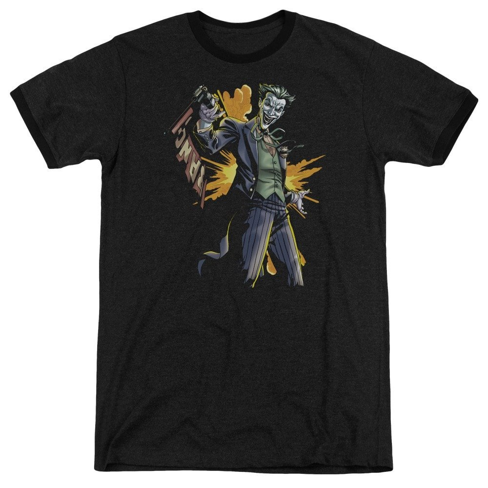 Joker Bang Adult Ringer T Shirt M Sons of Gotham Batman