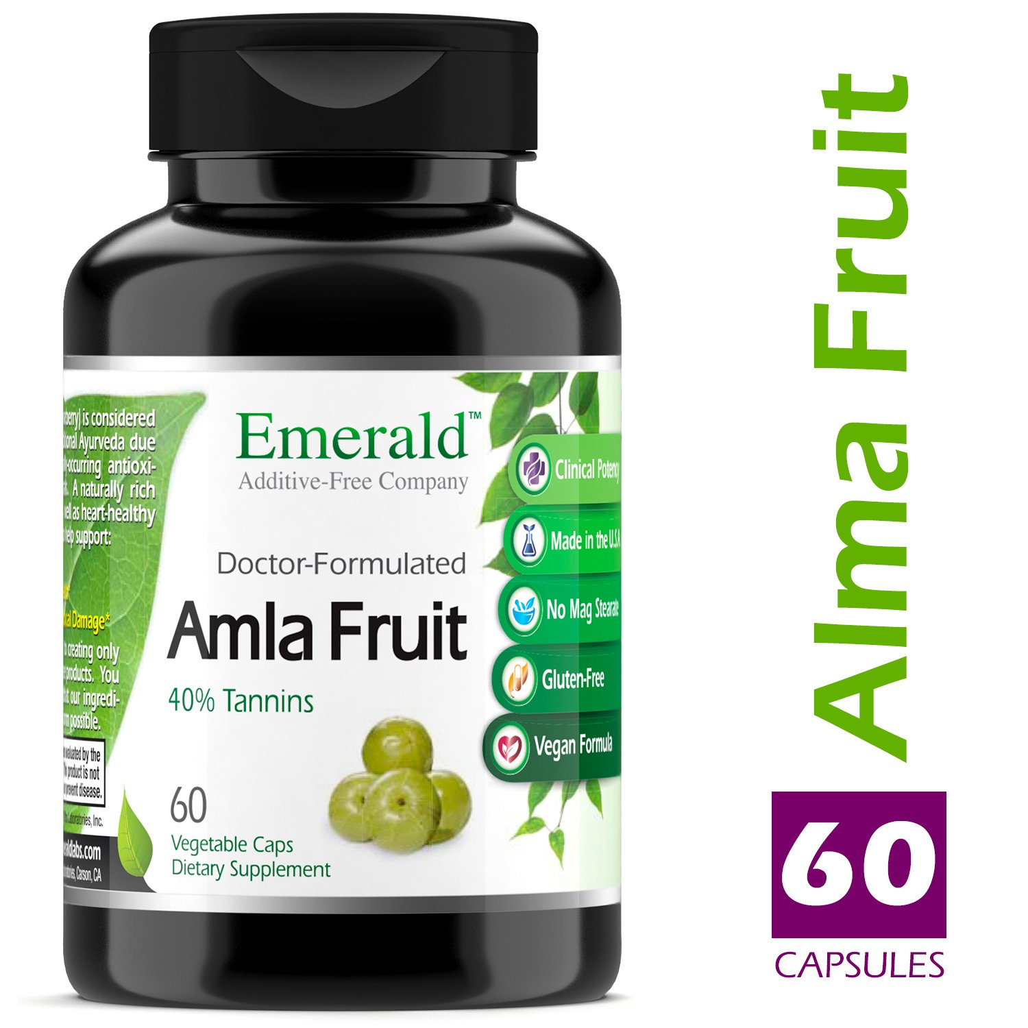 Amla Fruit - Natural Source Vitamin C, Powerful Immune Support, Digestive Support, Sore Throat Relief, Anti-Aging - Emerald Laboratories (Fruitrients) - 60 Vegetable Capsules