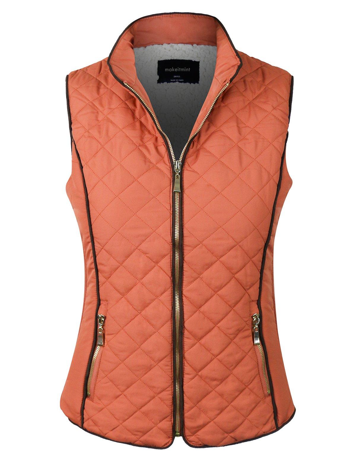 makeitmint Women's Quilted Soft Shearling Lining Padding Pocket Vest [S-3XL] YJV0002-24RUST-LRG