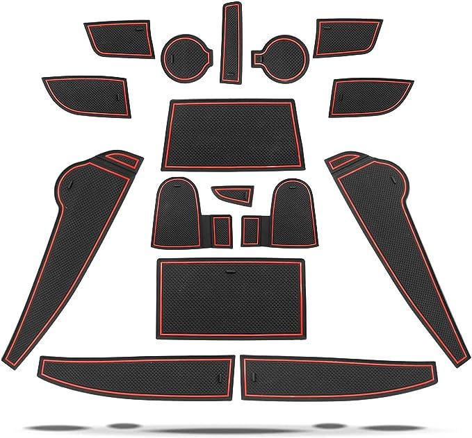 Ruiya Rutschfest Auto Innere Türschlitz Arm Box Aufbewahrung Matten Pads For 2018 Kona Anti Staub Tor Schlitz Auflage Schalen Matte Automobildekoration Mit Logo 18pcs Set Rot Auto