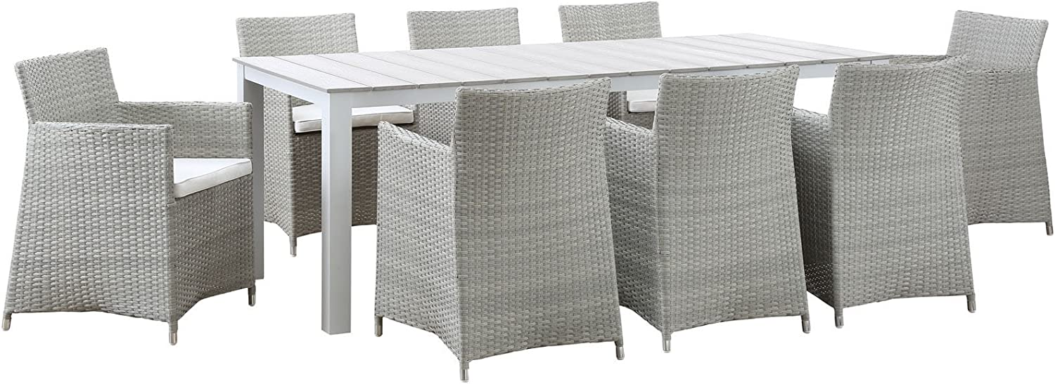 "Modway Junction Wicker Rattan 9-Piece Outdoor Patio Dining Set with 80"" Dining Table and Eight Dining Armchairs with Cushions in Gray White"