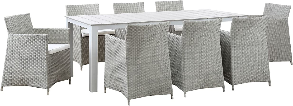 Amazon Com Modway Junction Wicker Rattan 9 Piece Outdoor Patio Dining Set With 80 Dining Table And Eight Dining Armchairs With Cushions In Gray White Garden Outdoor