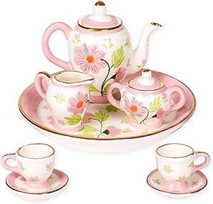 Sea Island Posies Floral Design Porcelain Children's 10 pc. Tea Party Set