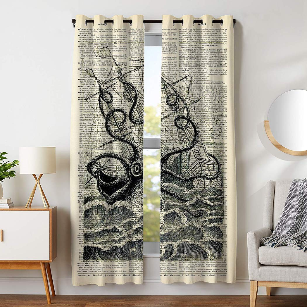 YISUMEI - Vorhang Blcikdicht - Piraten Krake segeln - 180 x 140 cm 2er Set Gardinen mit Ösen für Schlafzimmer Wohnzimmer
