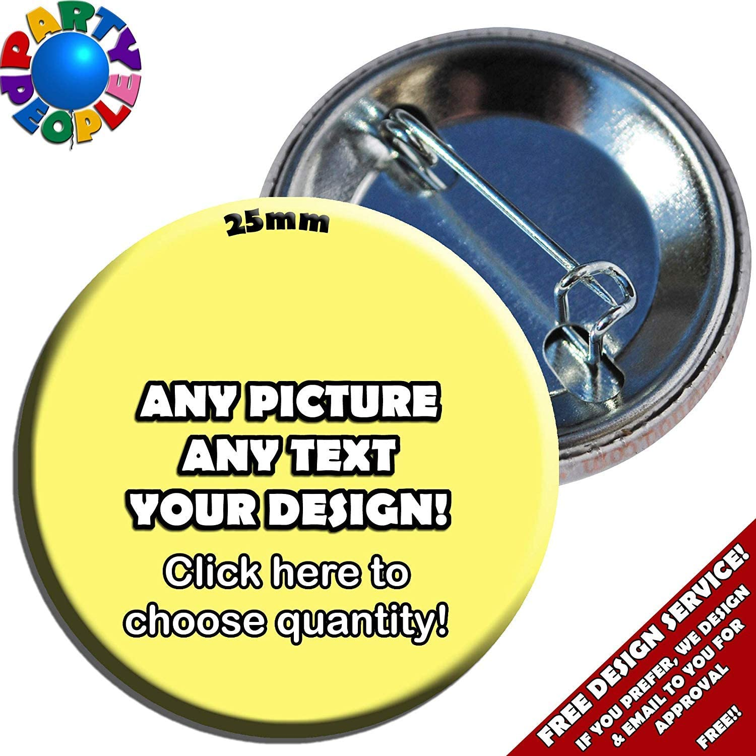 BRAND NEW 15 x 58mm CUSTOM BUTTON PIN BADGES PERSONALISED WITH YOU OWN DESIGN