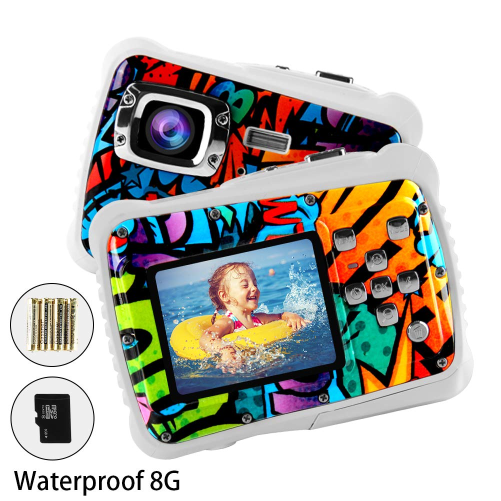 Poogig 【2019 Newest Kids Camera】 Kids Camera, Waterproof Digital Camera for Children, 12MP HD Underwater Camcorder with 3M Waterproof, 2.0 Inch LCD Screen, 8X Digital Zoom, Flash Mic and 8G SD Card by Poogig (Image #1)