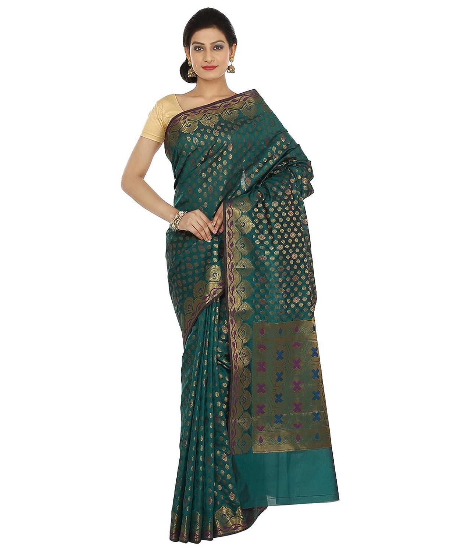 Indian Ethnic Art Banarasi Silk Dark Teal Green Banarasi saree