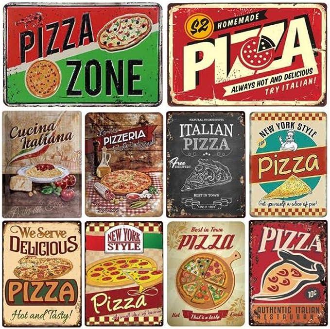 HMMY Cartel Chapa Decoración Pared Cartel Placa Metal Letrero De Pizza Placa De Hojalata Decoración De Pared De Metal para Pizzería Restaurante Comedor Q_20 * 30Cm: Amazon.es: Hogar