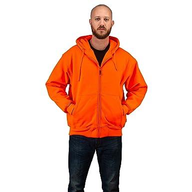 a3e417f236bcc TrailCrest Men's Safety Blaze Orange/Camo Double Fleece Full Zip Hoodie,  Orange, Medium