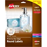 """Avery Print to The Edge Round Labels, 2"""" Diameter, Matte White, Pack of 300 (22877)"""