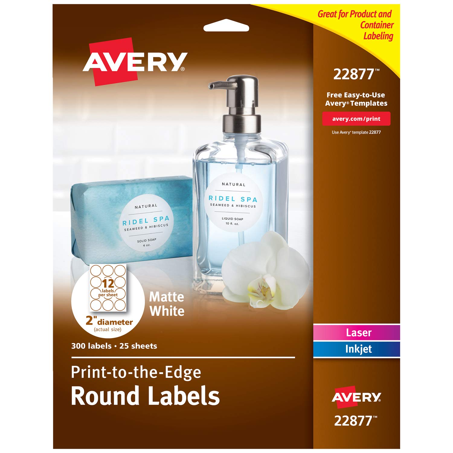 Avery 2 Inch Round Labels for Laser & Inkjet Printers, 300 Labels (22877)