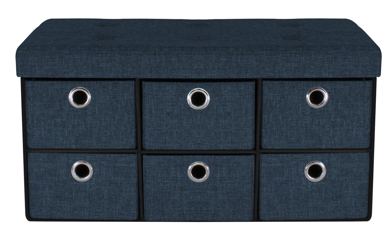 Sorbus Storage Bench Chest with Drawers – Collapsible Folding Bench Ottoman includes Cover – Perfect for Entryway, Bedroom, Cubby Drawer Footstool, Hope Chest, Contemporary Faux Linen (Navy Blue)