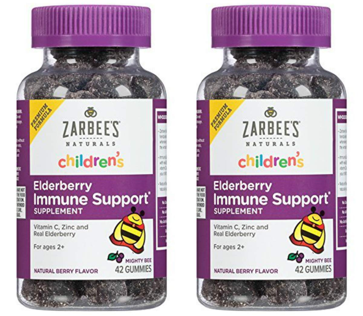 Zarbee's Naturals Children's Elderberry Immune Support Gummies with Vitamin C, Zinc, Natural Berry Flavor, 42 Count (2 Pack) CXFG