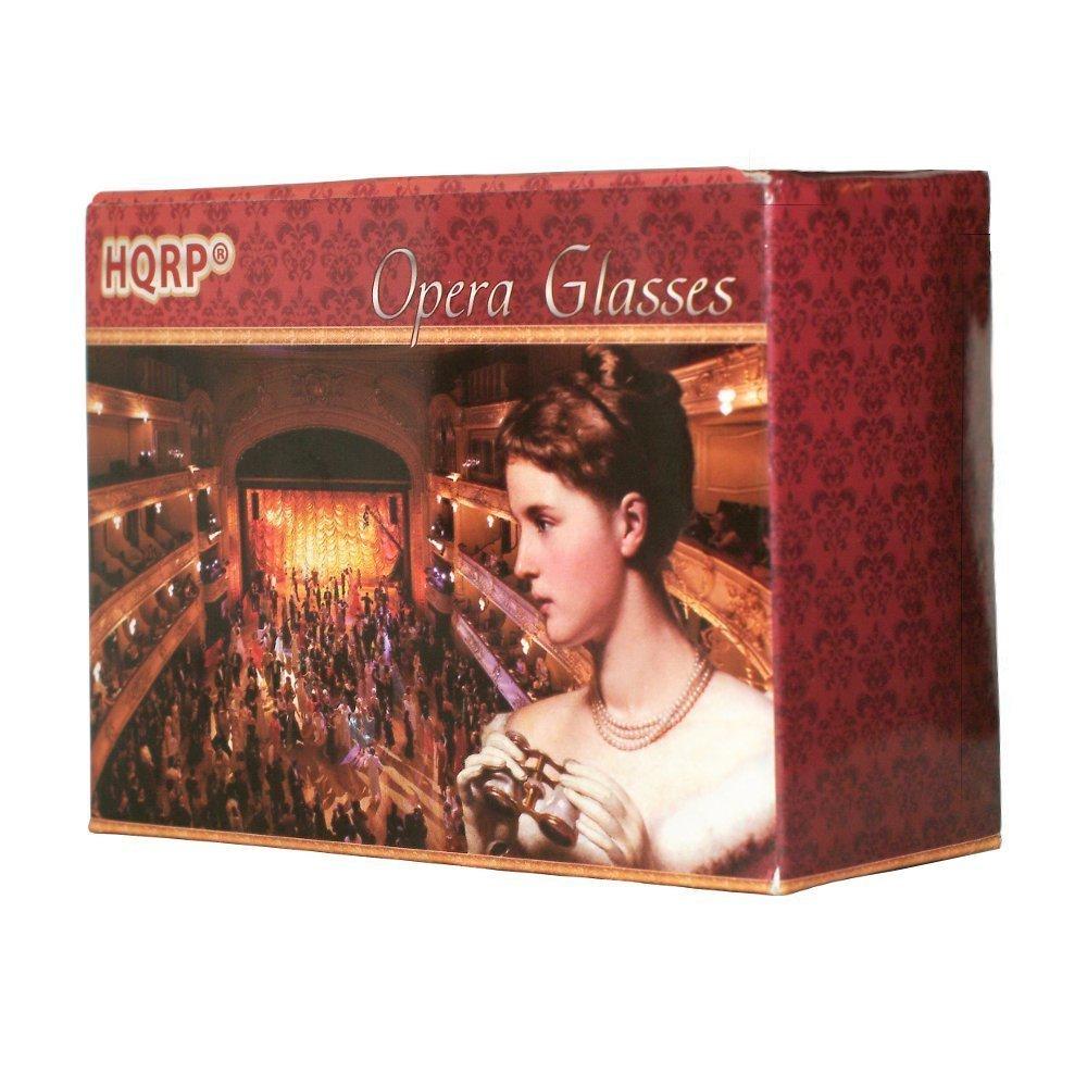 Binoculares de Teatro 3 x 25 de color de rosa con adorno dorado con mango extensible HQRP Prism/áticos de /ópera