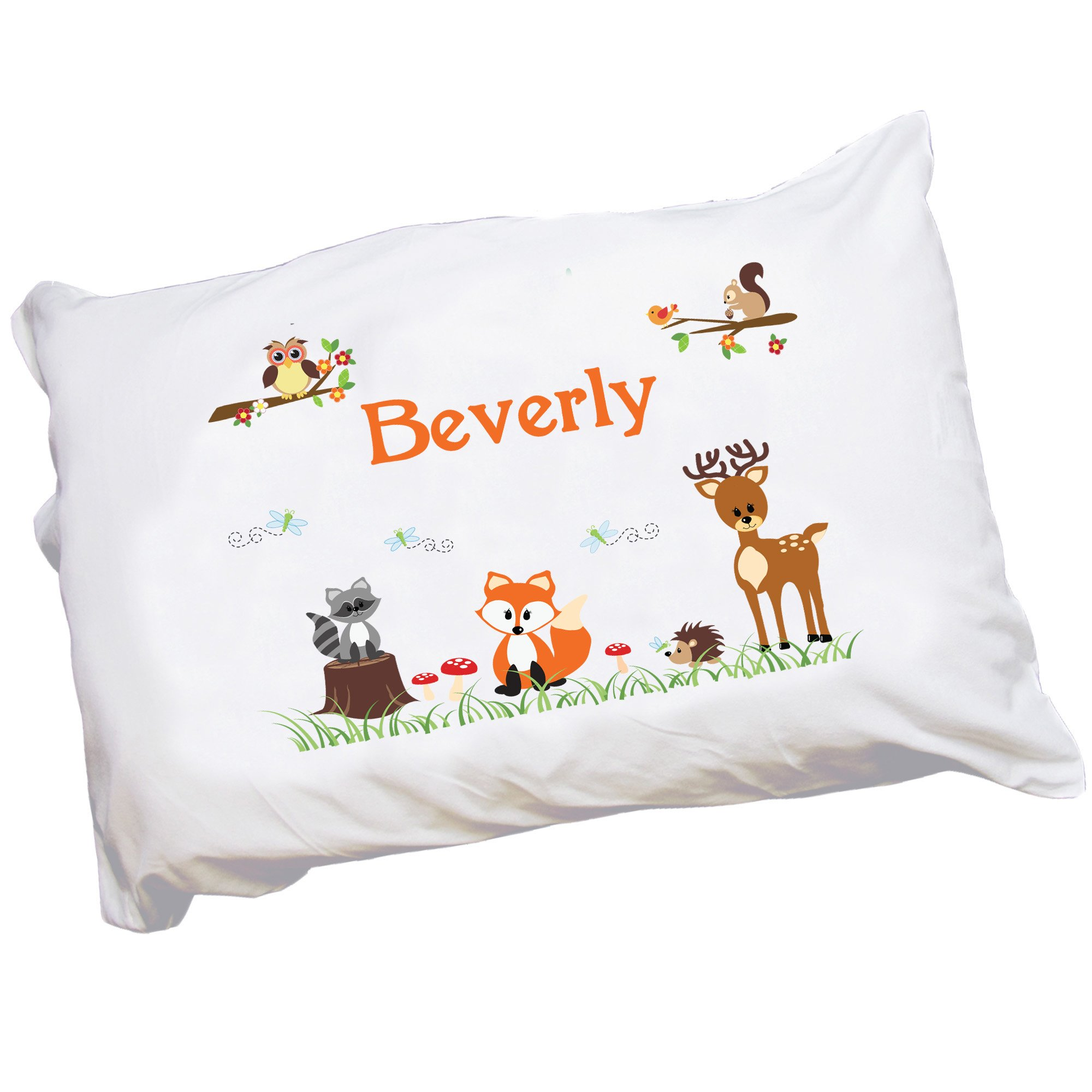 Personalized Childrens Pillowcase with Coral Forest Animals design