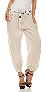 Damen Hose gepunktete Haremshose Ballonhose Pumphose Sommerhose mit Ledergürtel
