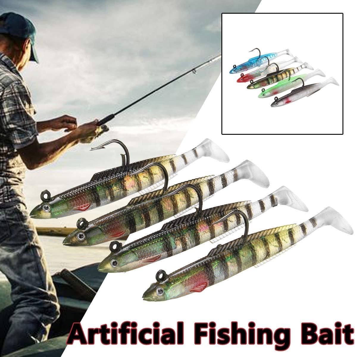 CUSHY 4PCS//Set Artificial Fish Fishing Lure Soft 3D Eyes 10cm 10g Cod Bass Wrasse Ling Sea Fishing Lures s Red
