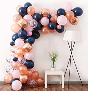 Rose Gold Navy Pink Balloon Garland Kit, 105pcs Balloons Included Rose Gold 4D Foil Balloons Navy Rose Gold Confetti Balloons Ideal for Girls Birthday Bridal Shower Gender Reveal Party Decorations