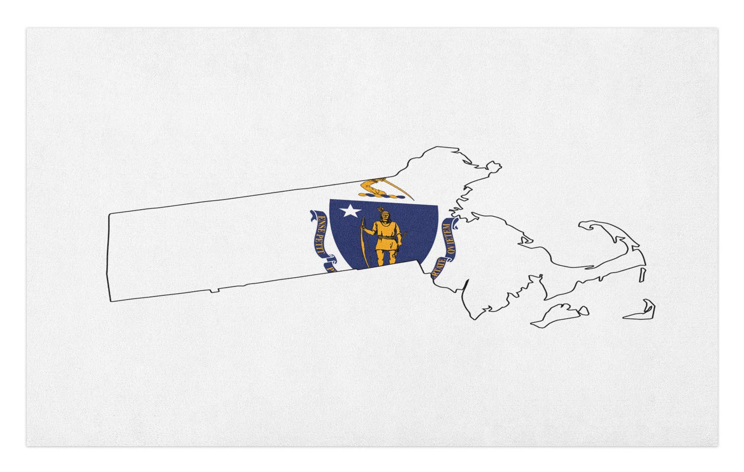 Lunarable Massachusetts Doormat, Bay State Flag and Map Native American Arm and Sword, Decorative Polyester Floor Mat with Non-Skid Backing, 30 W X 18 L Inches, Earth Yellow Cobalt Blue and White