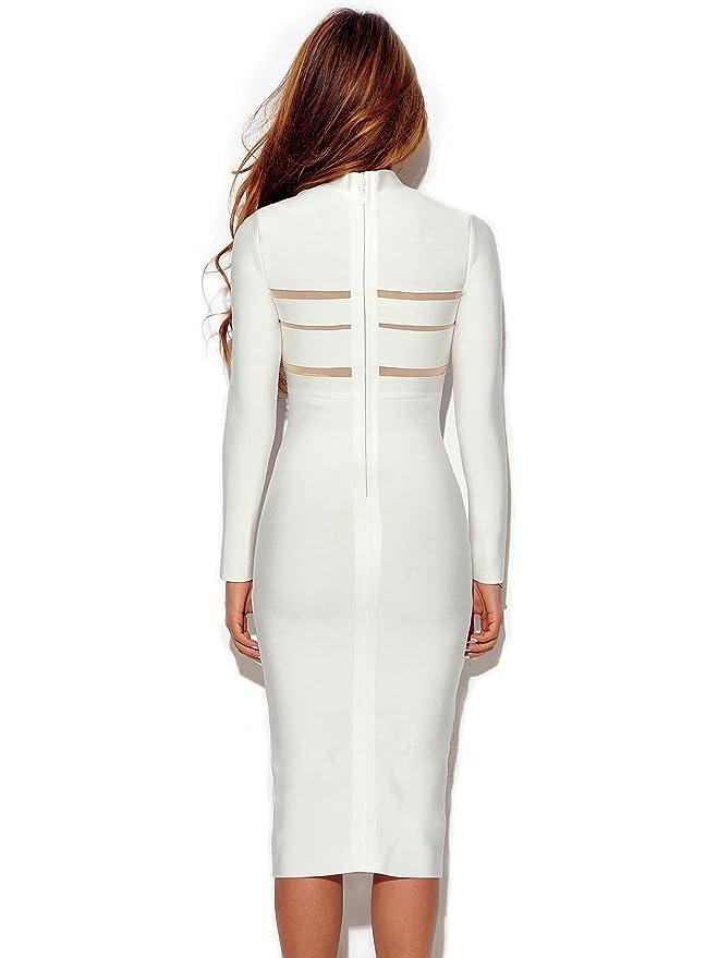 629b07980d25 Rumor Apparel Mock Neck Long Sleeve Bandage Dress (Medium) at Amazon  Women's Clothing store: