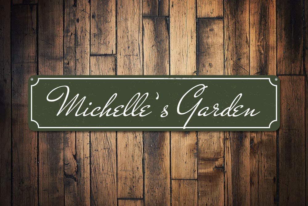 "Garden Name Sign, Persoanlized Garden Lover Gift, Metal Flower Vegetable Garden Sign, Custom Patio Decor, Garden Signs - Quality Aluminum, Metal Signs Tin Plaque Wall Art Poster 18""x4"""