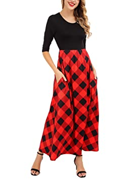 Amazon vestido cuadros escoceses mujer