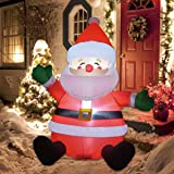 GOOSH 5 FT Christmas Inflatable Santa Claus LED Lights Indoor Outdoor Yard Lawn Decoration - Cute Fun Xmas Holiday Blow…