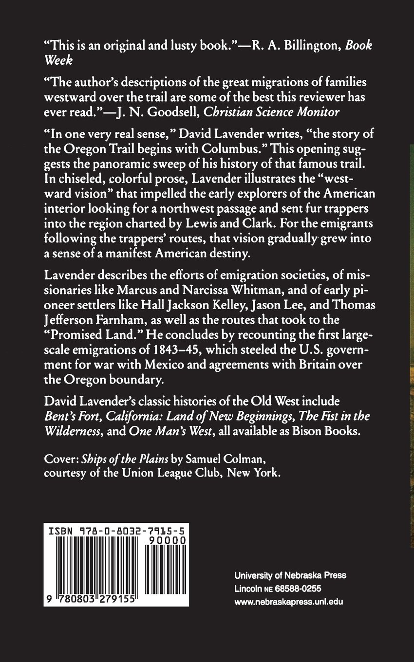 Westward Vision: The Story Of The Oregon Trail (bison Book): David  Lavender: 9780803279155: Amazon: Books