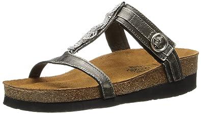 Naot Women's Malibu Wedge Sandal, Metal Leather, 35 EU/4.5-5 M