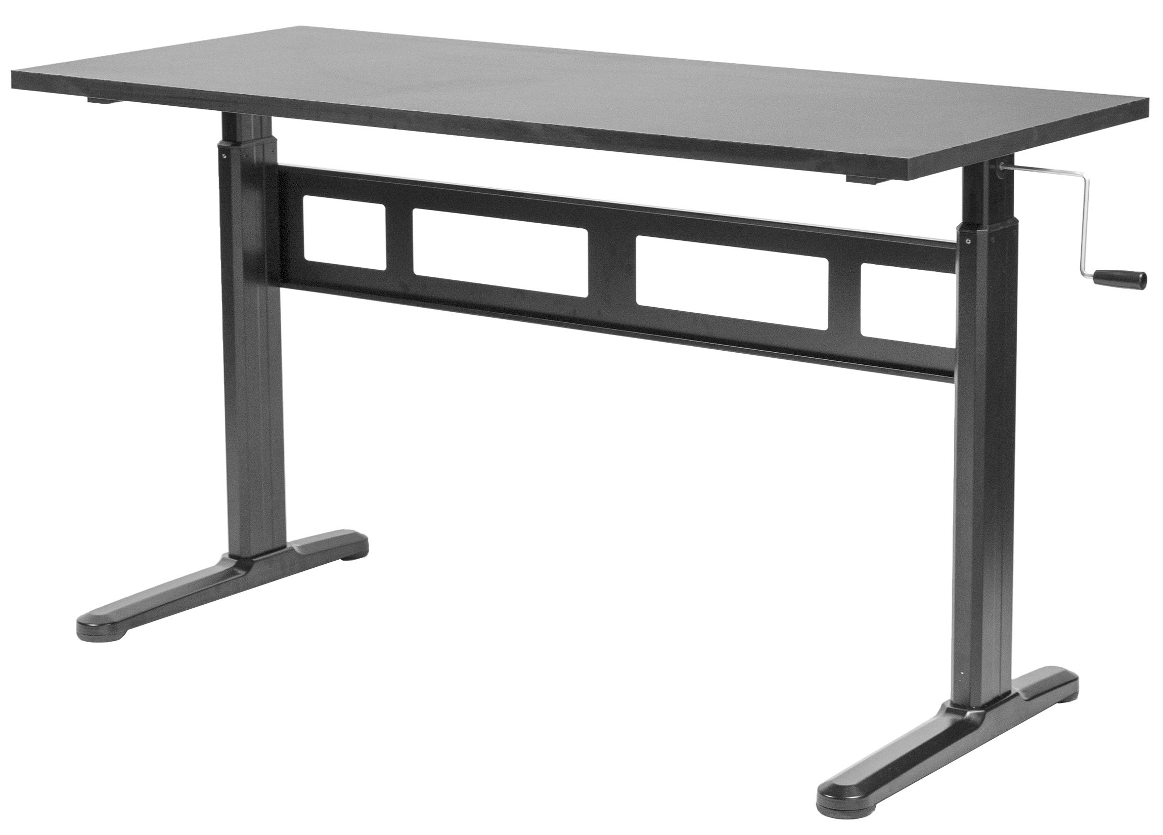 VIVO Black Height Adjustable 55 x 24 inch Table Top with Legs | Complete Sit Stand Desk Workstation with Frame and Desktop (DESK-V100M) by VIVO