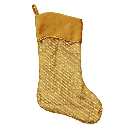 northlight 20 silver and gold glitter striped christmas stocking with shadow velveteen cuff - Gold Christmas Stocking