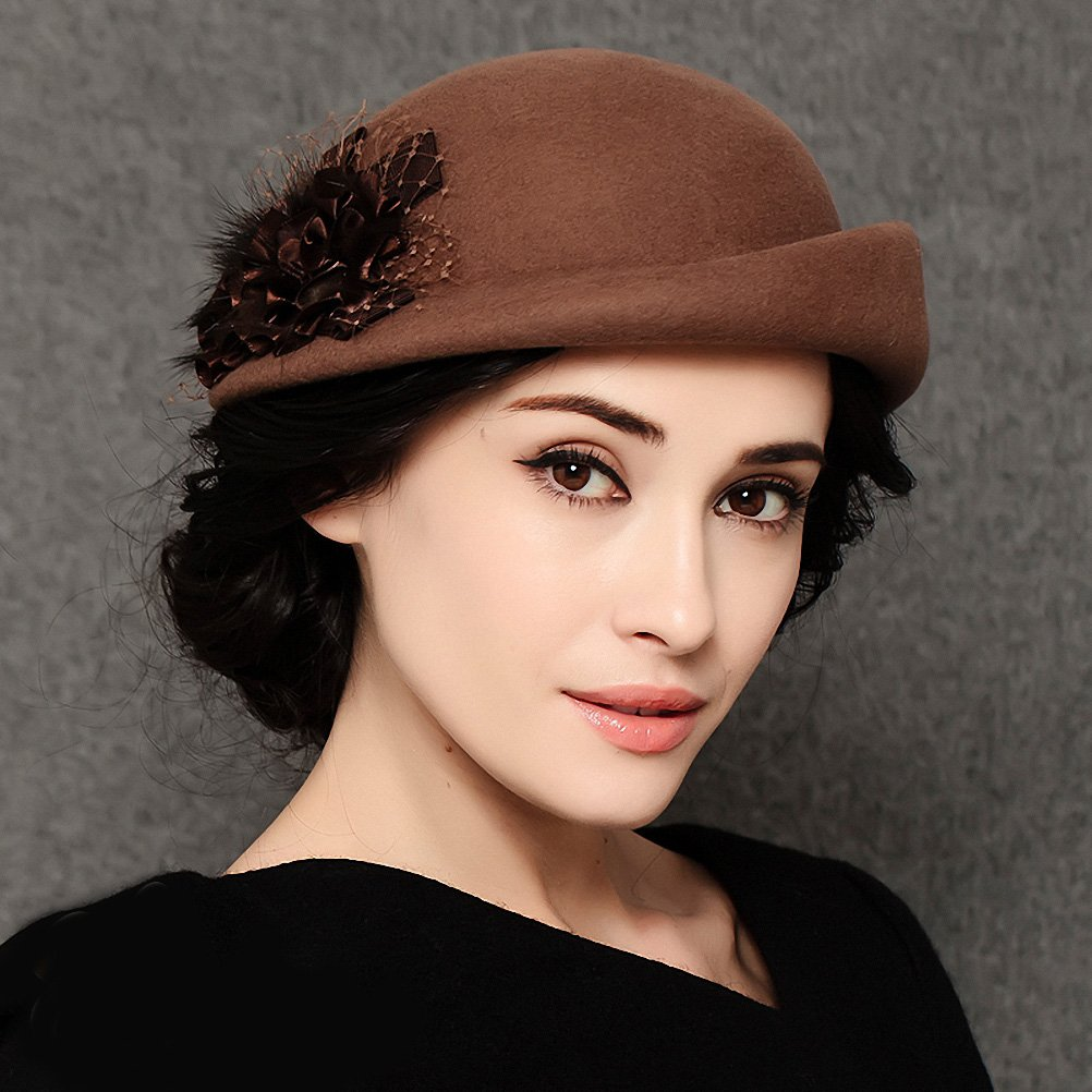 Maitose&Trade; Women's Lace Flower Wool Beret Cap Camel by Maitose (Image #2)