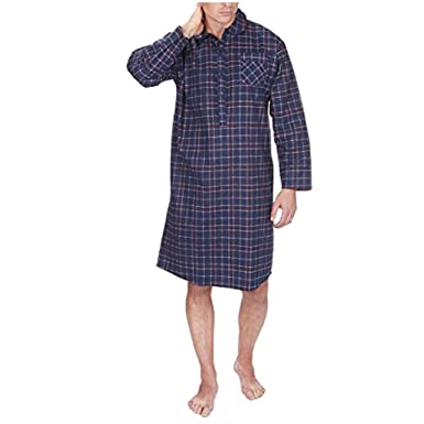 60fcf32afb Image Unavailable. Image not available for. Colour  CARGO BAY Mens Pyjamas Nightshirt  Flannel Night Gown Sleepwear Striped ...