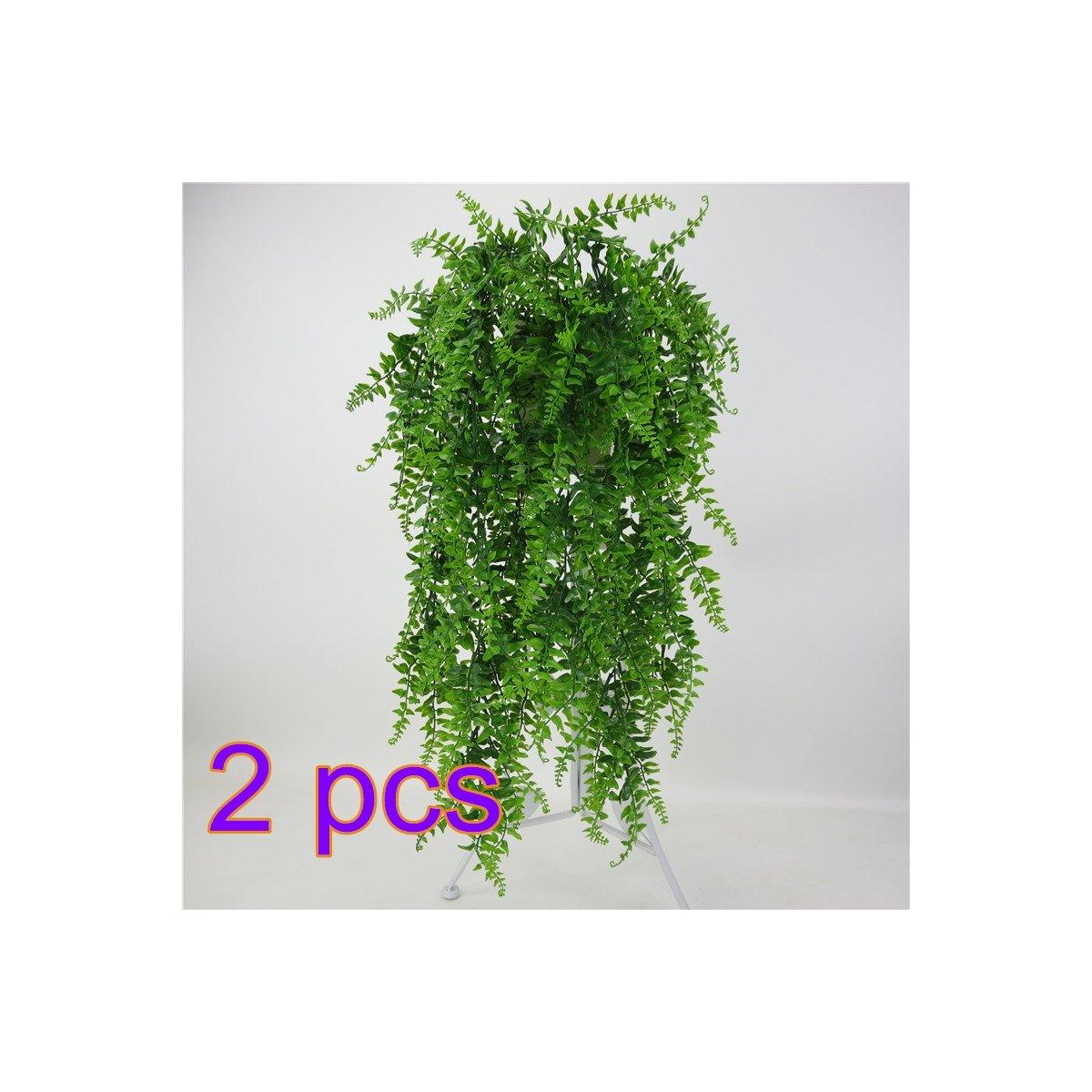 人工ハンギング植物、人工プラスチックシダブッシュFaux Grass Leaves ForホームガーデンOffice市場レストランウェディングの装飾by hwkaiz 2pcs 7X12M43LLCDBLFP7OQ215PN B07BBNSJV8   2pcs