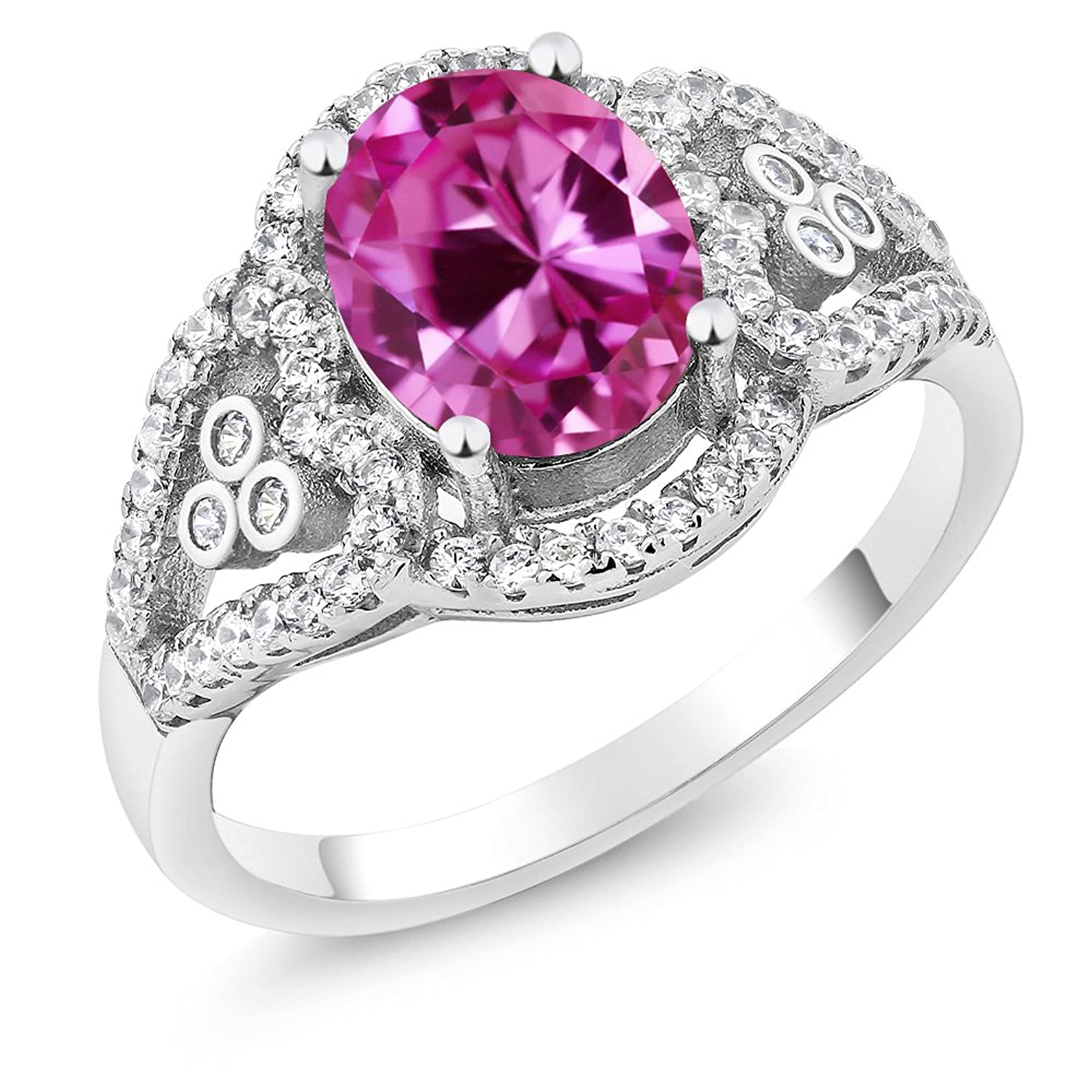 2.42 Ct Oval Pink Created Sapphire 925 Sterling Silver Ring