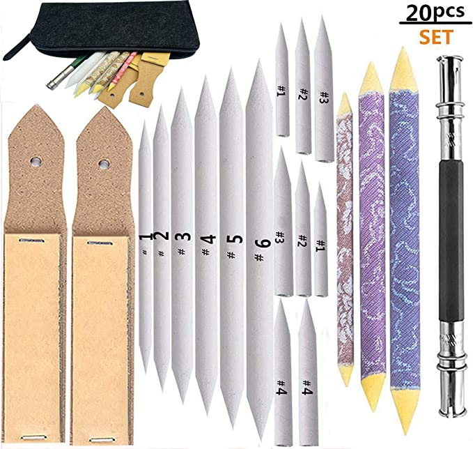 7pcs Blending Stumps and Tortillons Set Paper Stumps Assorted Sized Art Blender Sticks for Artists Beginners Professionals Kids Adults Drawing Sketching Detail Processing
