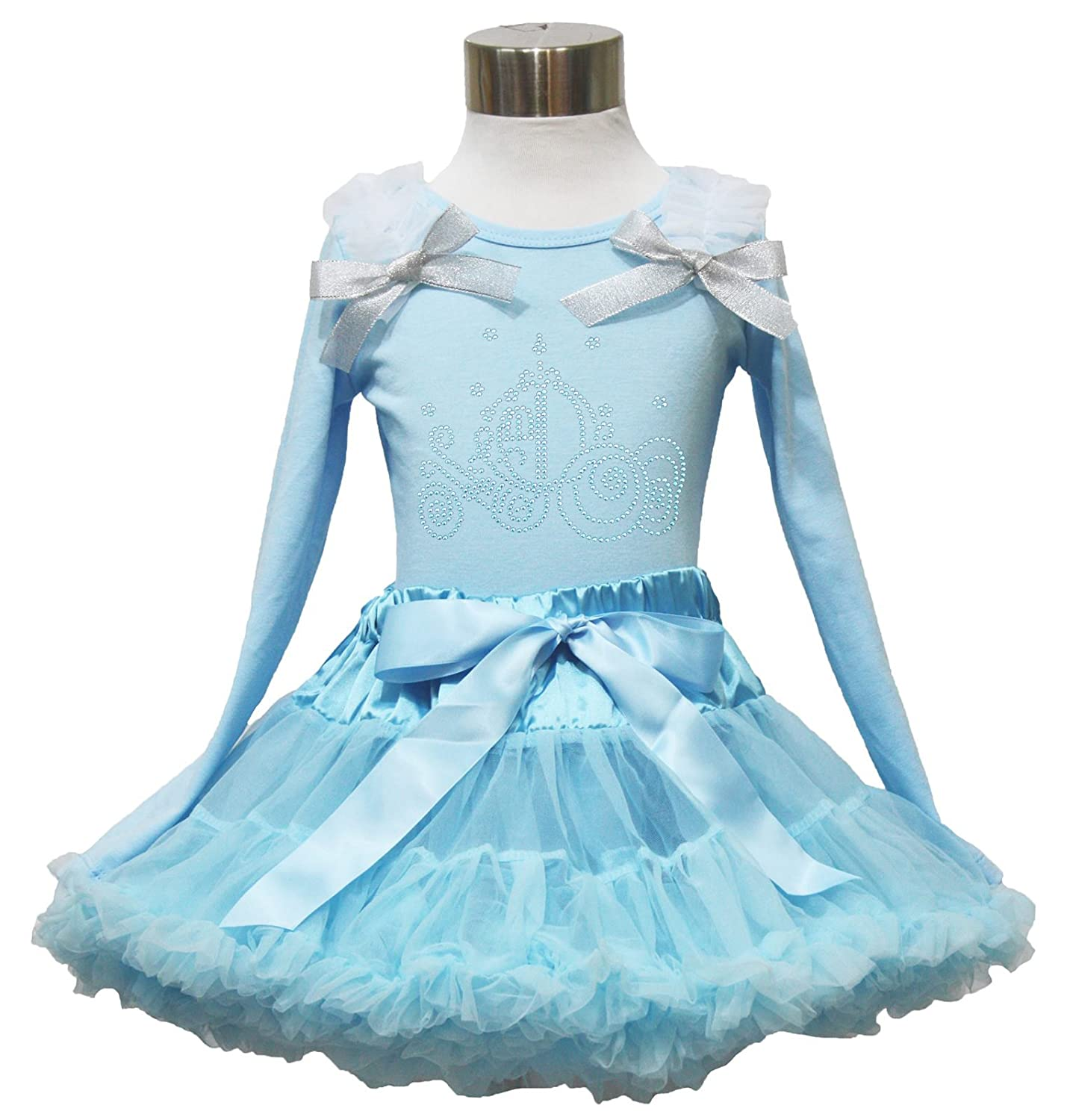 Pumpkin Carriage Princess Light Blue L//s Top Pettiskirt Girl Cloth Outfit 1-8y