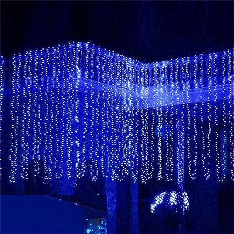 Tende Luminose Da Esterno.Minger Tenda Luminosa Catena Luminosa 3m X 3m 300 Led Natalizie Per Interno Esterno Ideale Per Decorazione Natale Matrimoni Feste Blu