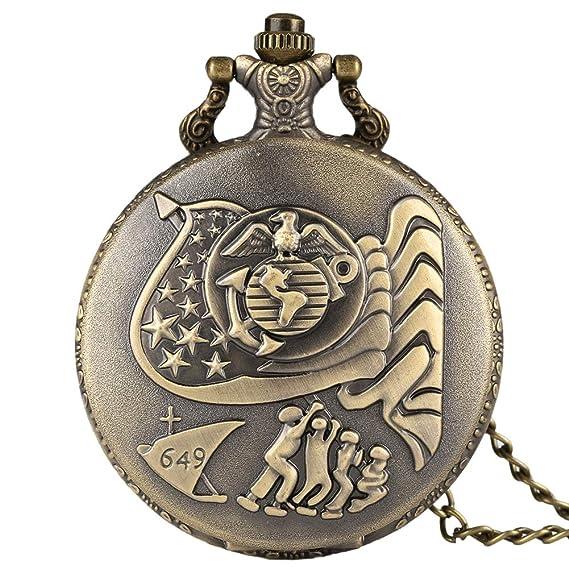 Reloj de Bolsillo con diseño de la Bandera de los Estados Unidos, Colgante de símbolo Americano para Hombres: Amazon.es: Relojes