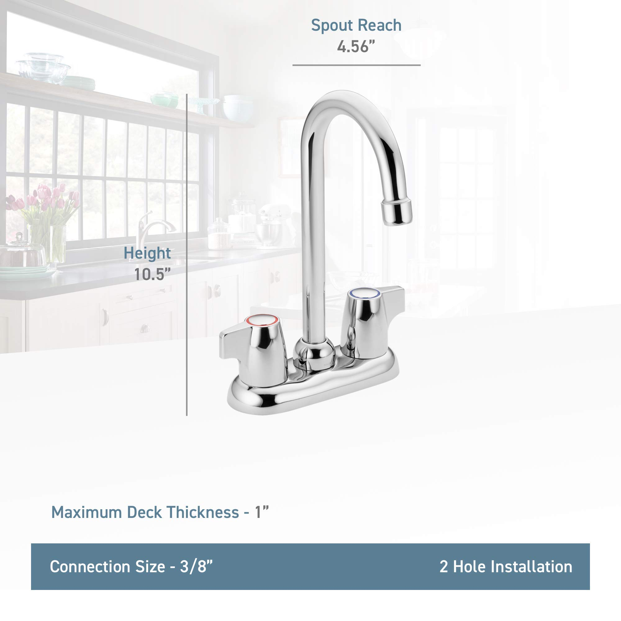Moen 4903 Chateau Two-Handle High Arc Bar Faucet, Chrome (Renewed)