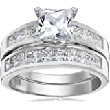 1 Carat Radiant CZ Sterling Silver 925 Wedding Engagement Ring Band Set Sizes 4 to 11