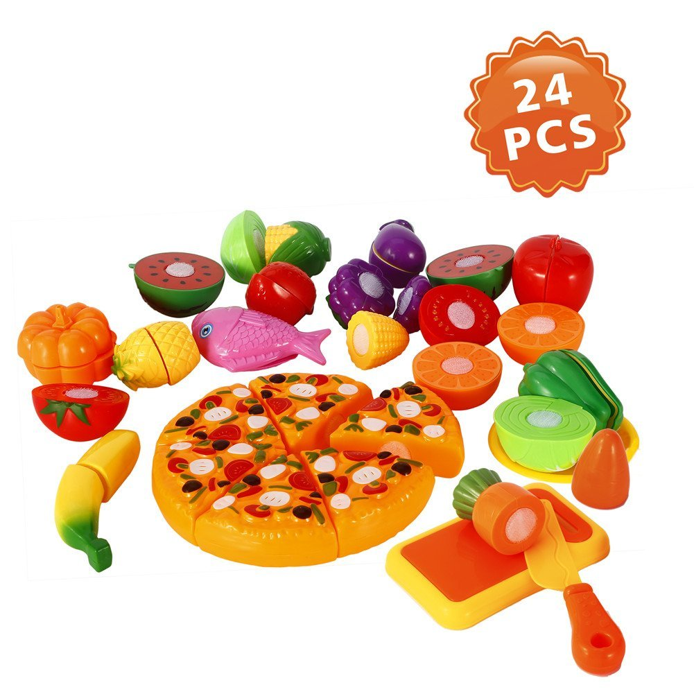 Lumiparty Pretend Play Food (24Pcs), Cutting Food for Kids, Kitchen Toys, Fun Cutting Fruits & Vegetable Toys, Cutting Board Play Set,Early Educational Development for Girls& Boys