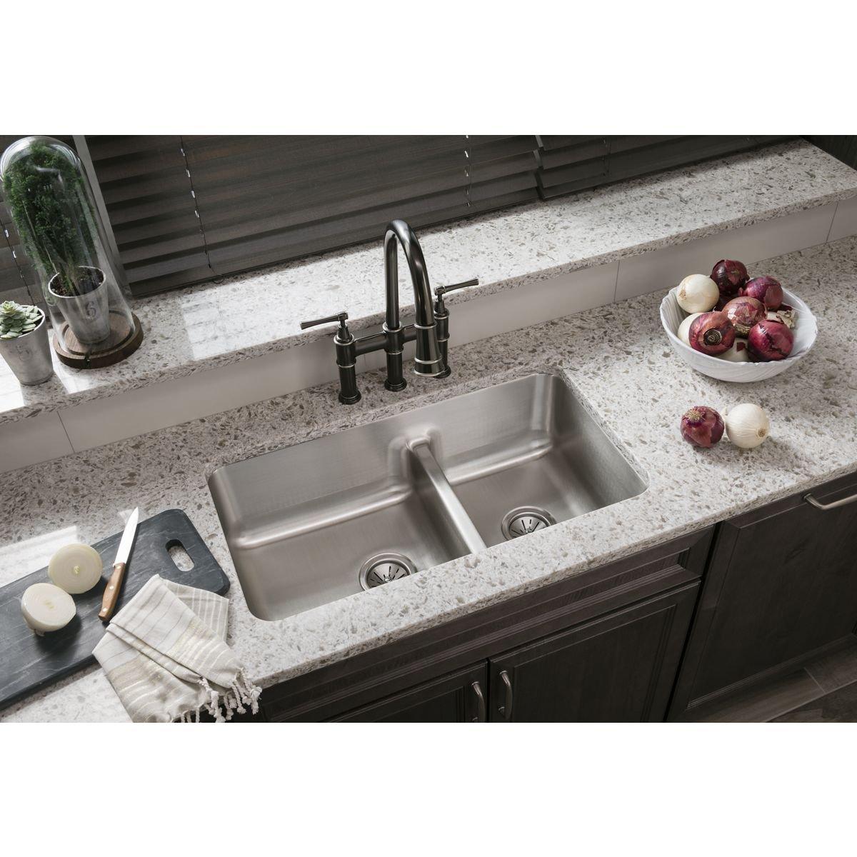 E Granite Kitchen Sinks Elkay Eluhaqd32179 Gourmet Undermount Sink Double Bowl Sinks