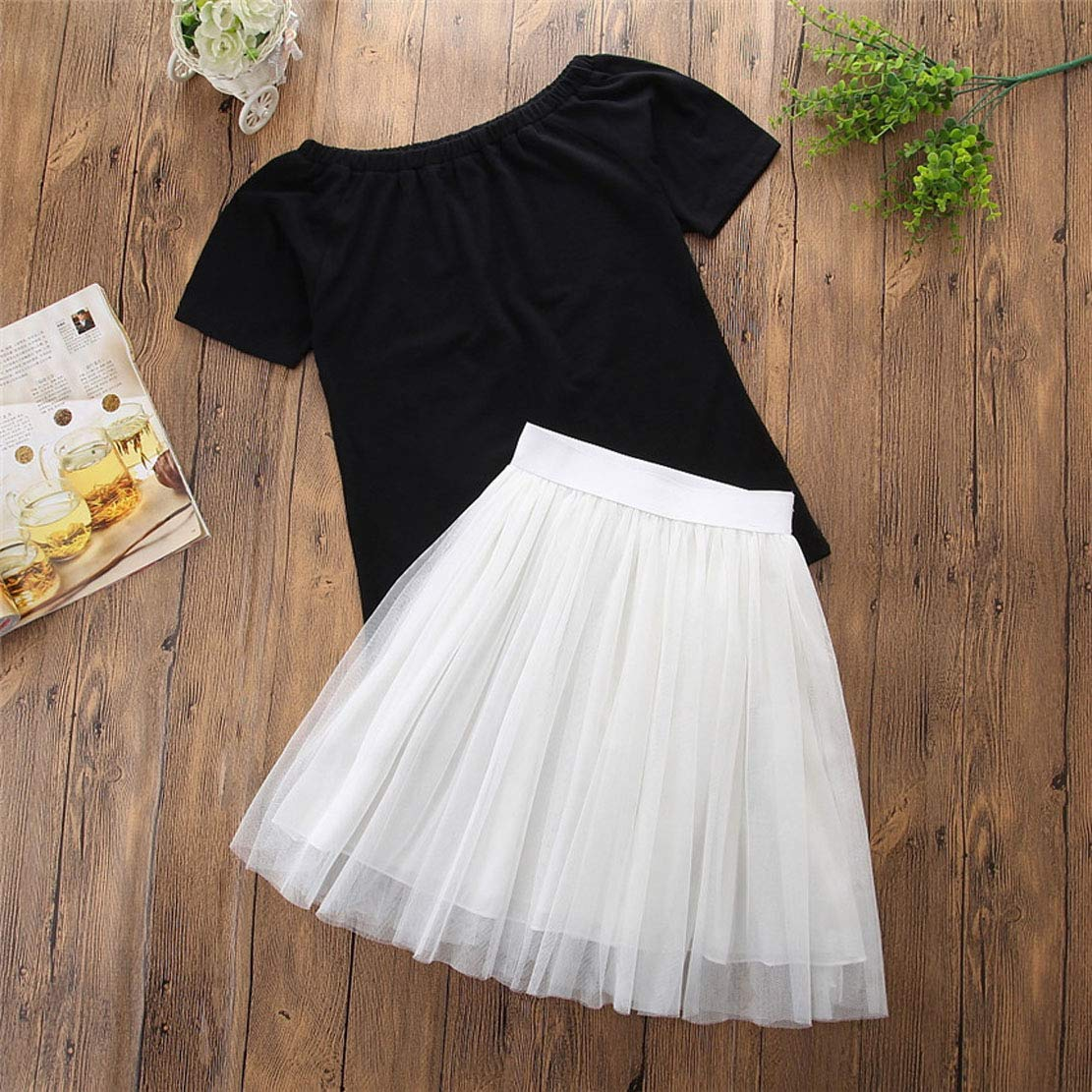 Family Matching Outfits Mommy and Me Black Short Tops /& White Lace Skirts Clothing Set