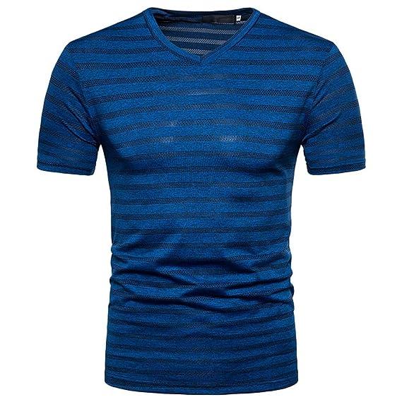 Camisas Verano 2018 Elegante Camisas Verano Cortas Manga Corta Casual Raya Impresión Cuello en V Pull