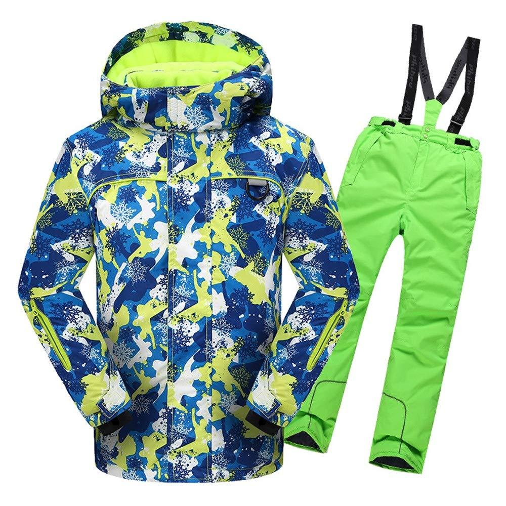 男の子女の子暖かい防風防水スノーシューツフード付きスキージャケットパンツ2個セット (色 : 緑, サイズ : 158/164) 緑 158/164
