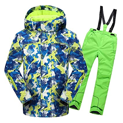 Traje de esquí para niños Chaqueta de esquí con Capucha y ...